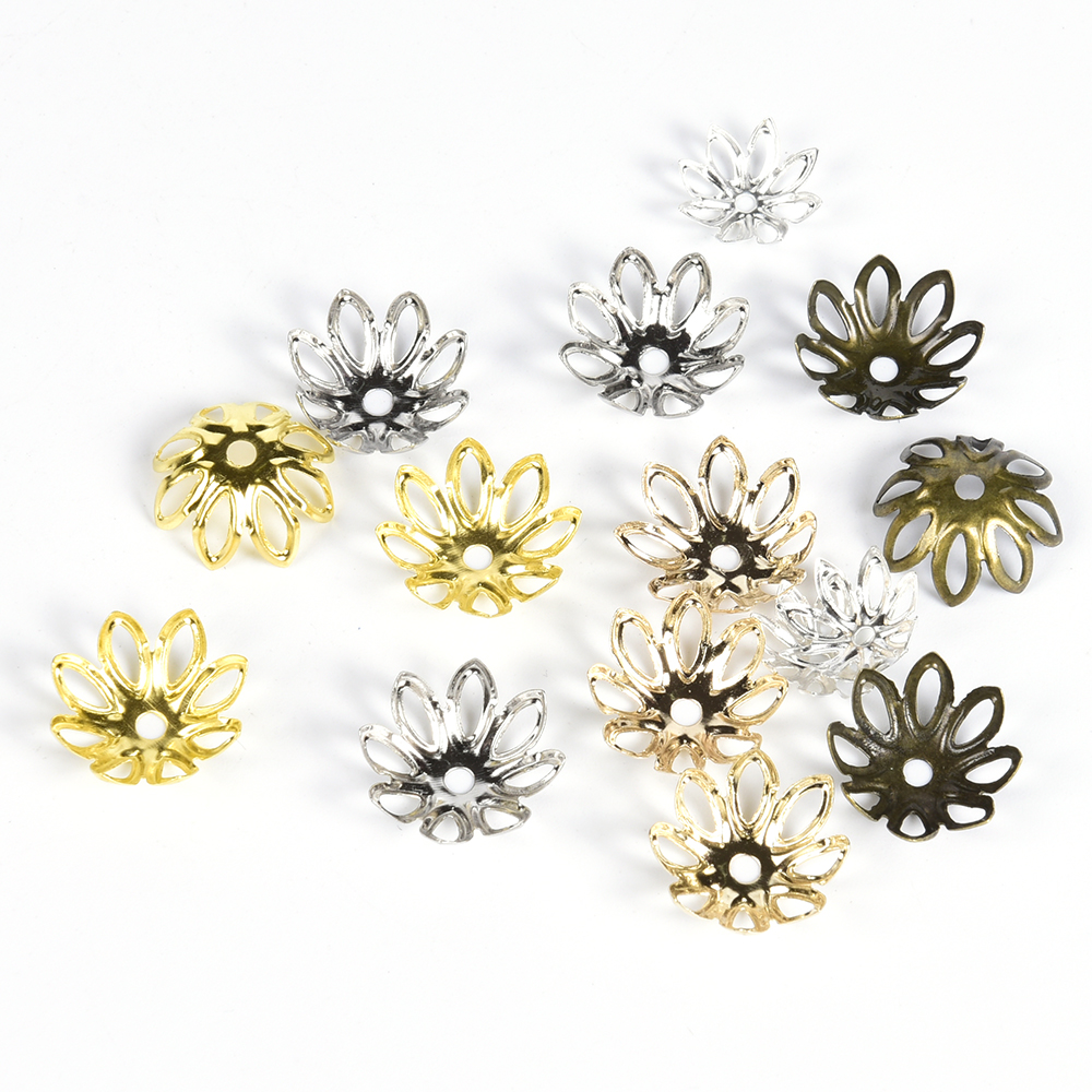 100Pcs/lot 11 14 Mm Flower Bead Cap Jewelry Findings Spacer Filigree Charms Beads Caps For Jewelry Making