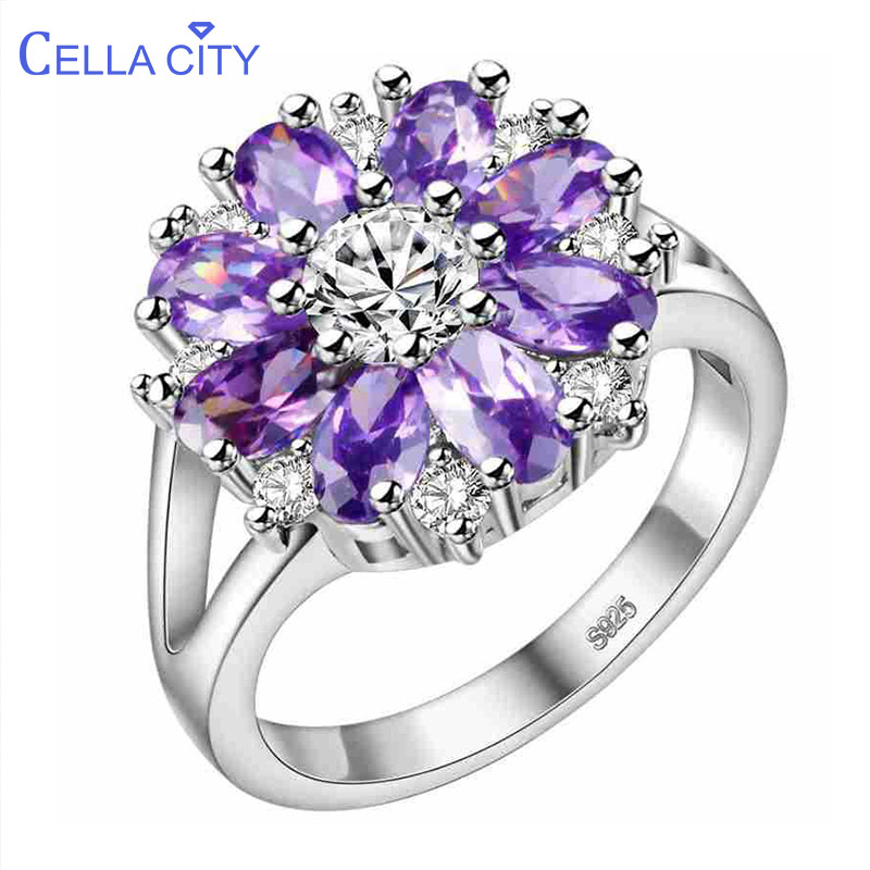 Cellacity Graceful Flower Shaped Silver 925 Jewelry Gemstones Ring For Women Ruby Amethyst Powder Crystal Chrysanthemum Dating