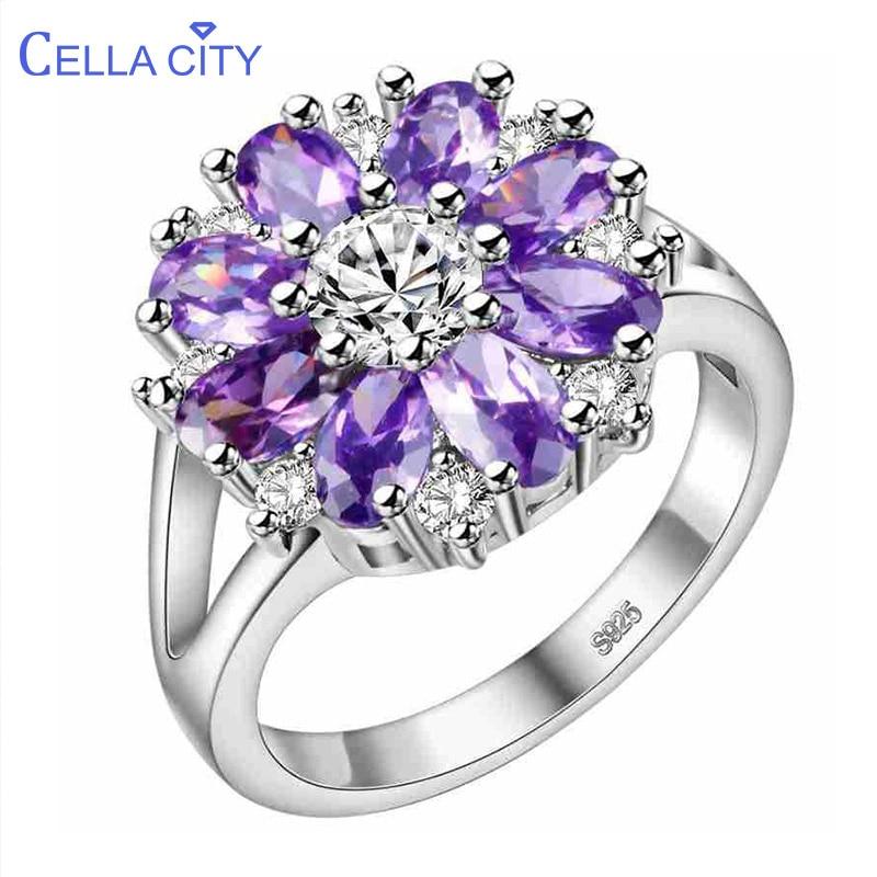 Cellacity Graceful Flower Shaped Silver 925 Jewelry Gemstones Ring For Women Ruby Amethyst Powder Crystal Chrysanthemum Dating