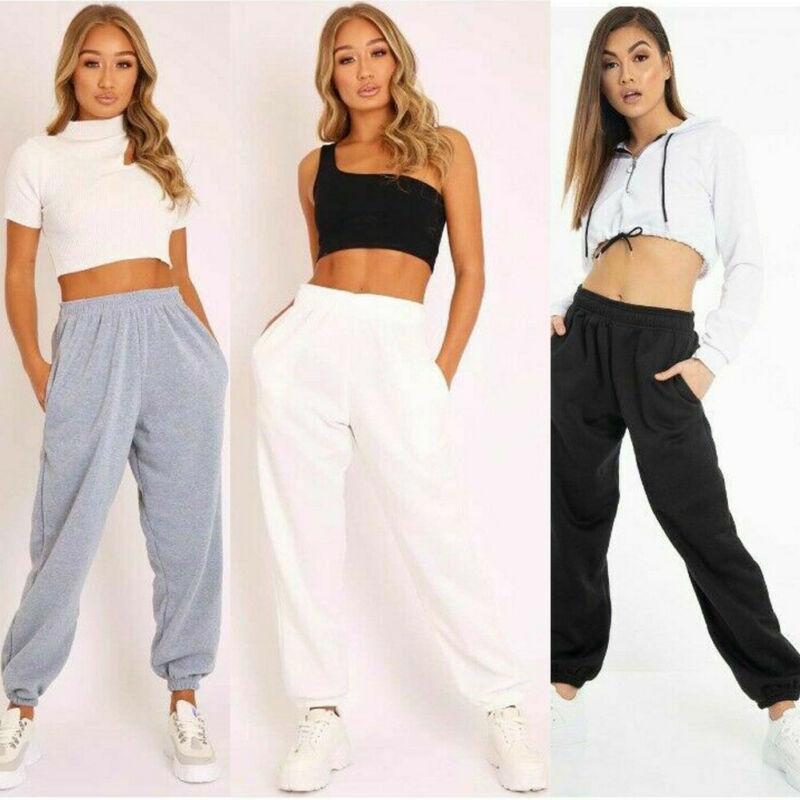 New Ladies Trousers Casual Sports Pants Plain Track Jogging Pants Haul Two Pockets Beam Hip Hop Loose Cotton Sweatpants