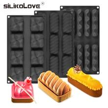 SILIKOLOVE сердце куб мусс форма для торта силиконовые формы для украшения торта десерт коричневый черный 3D формы для выпечки Silikone