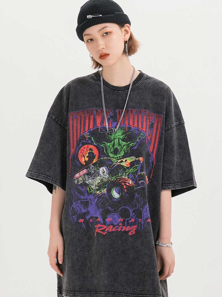 UNSETTLE Men Streetwear Short-Sleeve T-Shirts Oversized Harajuku Hip-Hop Gothic Fashion