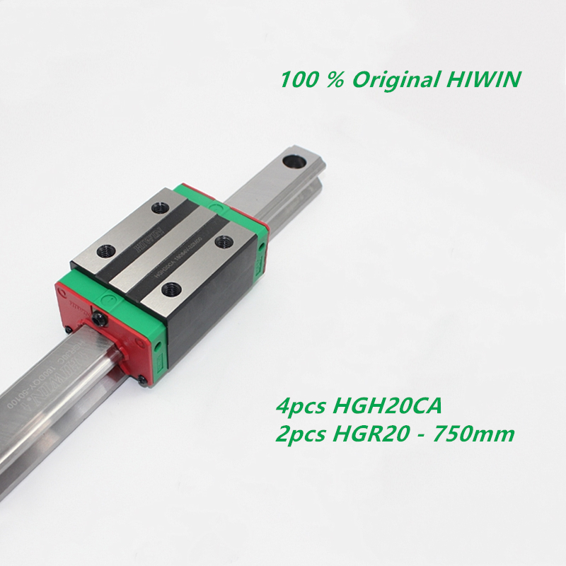 4pcs Orignal HIWIN HGH20CA linear carriage slide blocks + 2pcs HGR20 750mm Linear guide rails
