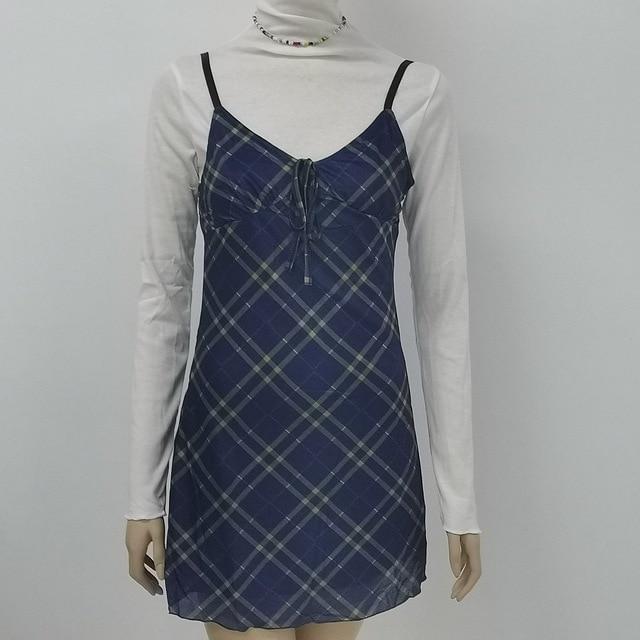 ALLNeon E-для девочек на рост от 90s спагетти ремень повязки спереди оборками в клетку для маленьких девочек в винтажном стиле; Из сетчатой ткани, с треугольным вырезом, с открытой спиной мини-платье А-силуэта из Partywear 4