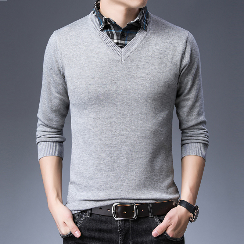 2019 Casual Sweater Men Brand Slim Fit Solid V-Neck Pullovers Long Sleeve Knitwear Fashion Male Knitted Classic Top Design