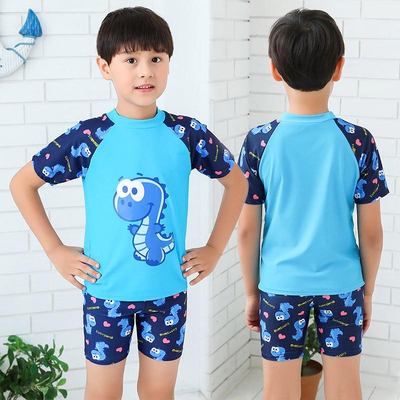 Korean-style Cartoon Dinosaur KID'S Swimwear Hooded Hot Springs BOY'S Split Type Swimsuit Boy Tour Bathing Suit