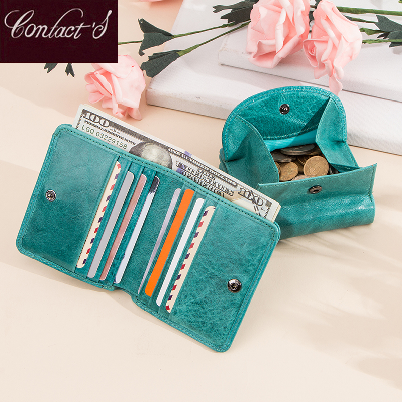 Contacts Fashion Genuine Leather Designer Wallets Luxury For Women Small Coin Purse Women Card Holder Mini Clutch Portfel Damski