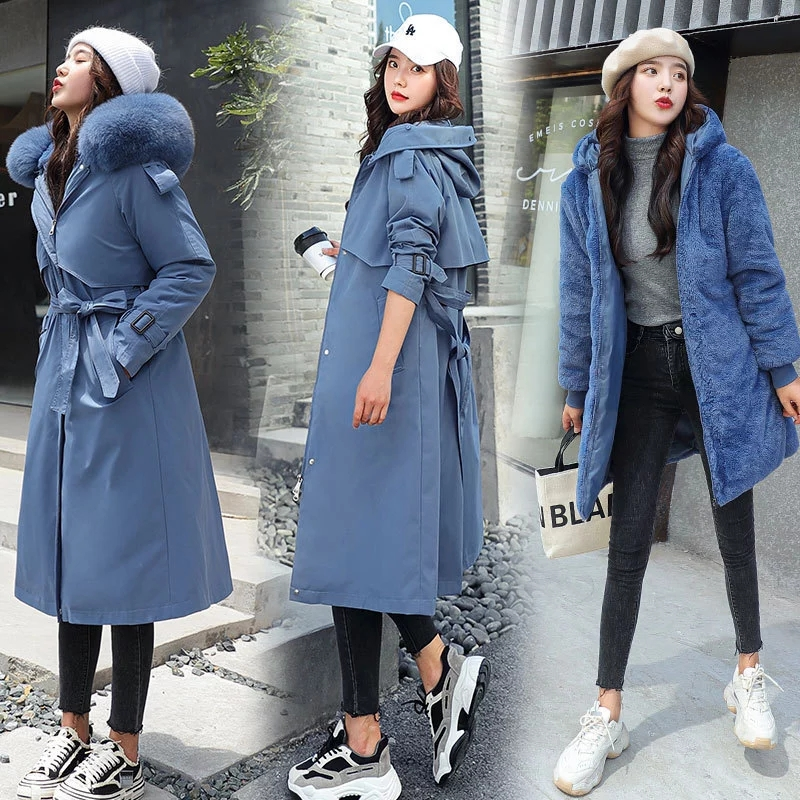 LUZUZI Women s Winter Jacket Hooded X Long Thick Warm Cotton Padded Parkas Woman Wool Liner