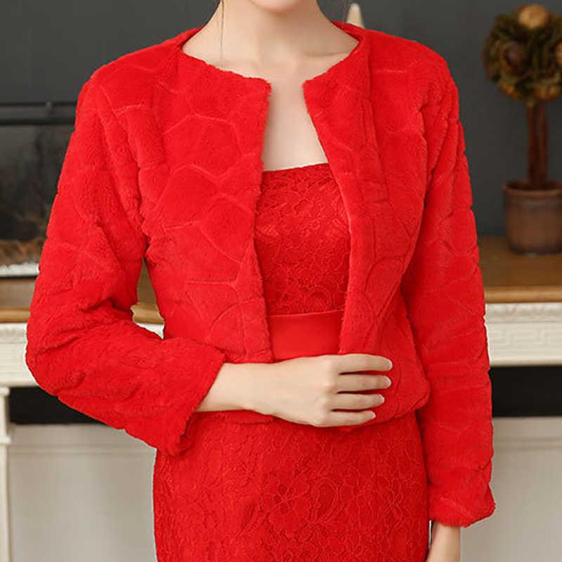 Chal de piel para boda, abrigo de piel para mujer, invierno, 3/4, mangas, abrigo de piel para novia, elegante abrigo de piel para la noche, Blanco/Rojo