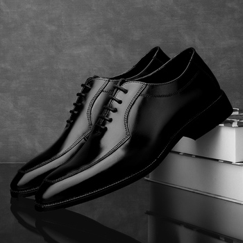 Fashion Men Oxford shoes lace up dress genuine Leather Shoes Men's Business Shoes British black brown Wedding party Shoes