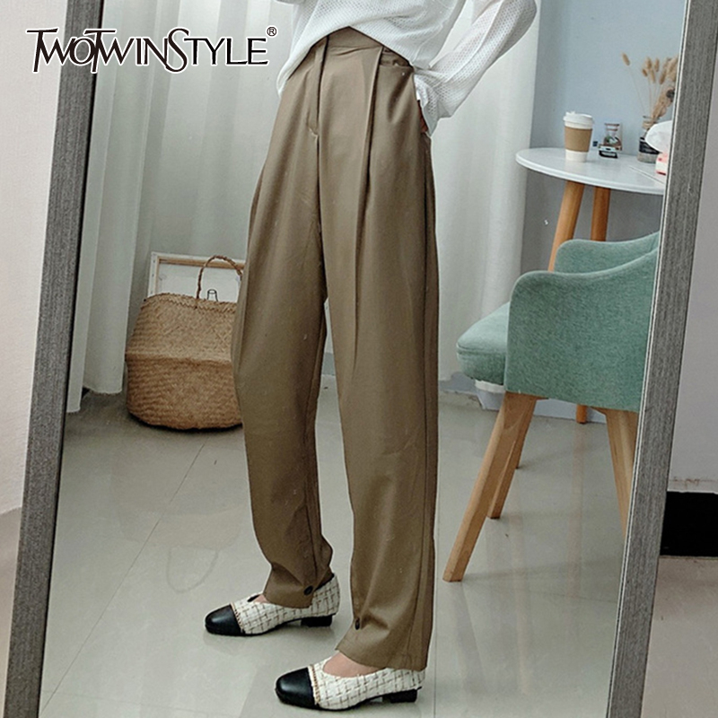 TWOTWINSTYLE Casual Loose Women Ankle-Length Pants High Waist Ruched Formal Pencil Blazer Pant For Female Fashion Clothing Tide