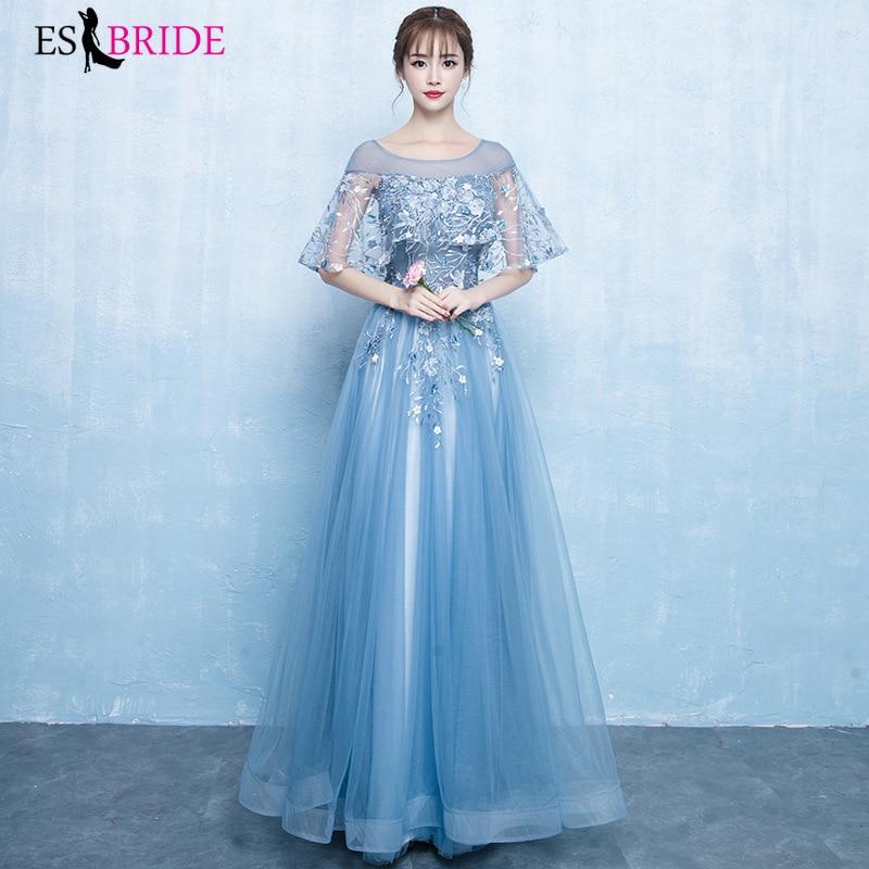 Blue Lace Evening Dresses ES30023 A-Line O-Neck Elegant Women Occasion Dresses Long Party Gowns Vestidos Largos