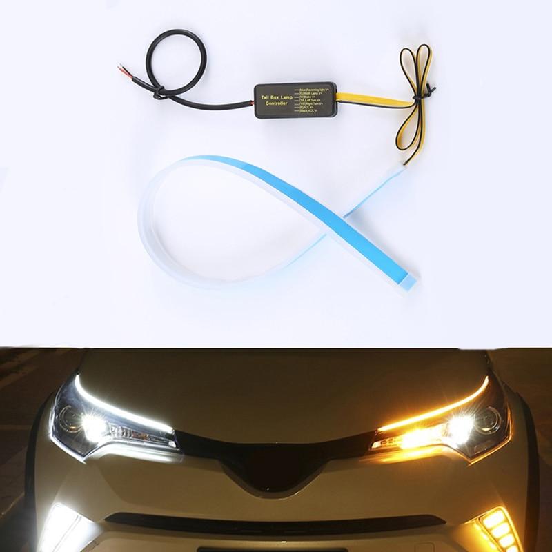 2x For Hyundai I10 I20 I30 Santa Fe IX35 Sonata Led Strip Car Headlight Sticker DRL Daytime Running Lights Dynamic Turn Signal