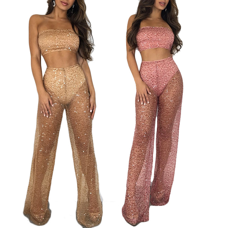 2019 Autumn And Winter New Style Europe And America-WOMEN'S Dress Sequin Transparent Fashion Leisure Suit Two-Piece Set