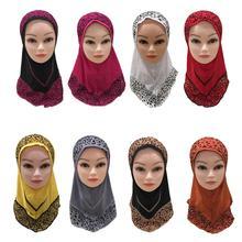 Kid Girls Hijab Muslim Leopard Printed Headscarf Scarf One Piece Amira Islamic Arab Wrap Turban Prayer Hat Full Cover Ramadan
