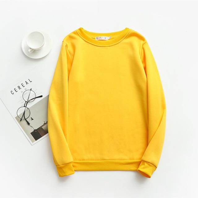 Women Solid Sweatshirts Korean Style Autumn Ladies Student Round Neck Long Sleeve Loose Pullover Tops WDC6301 5