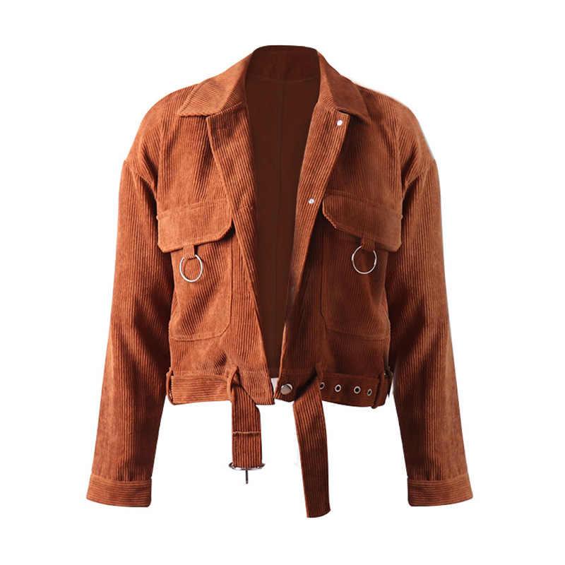 Новая Вельветовая куртка Harajuku женские зимние осенние пальто женские большие Топы Милые куртки кольцо карман ретро одежда