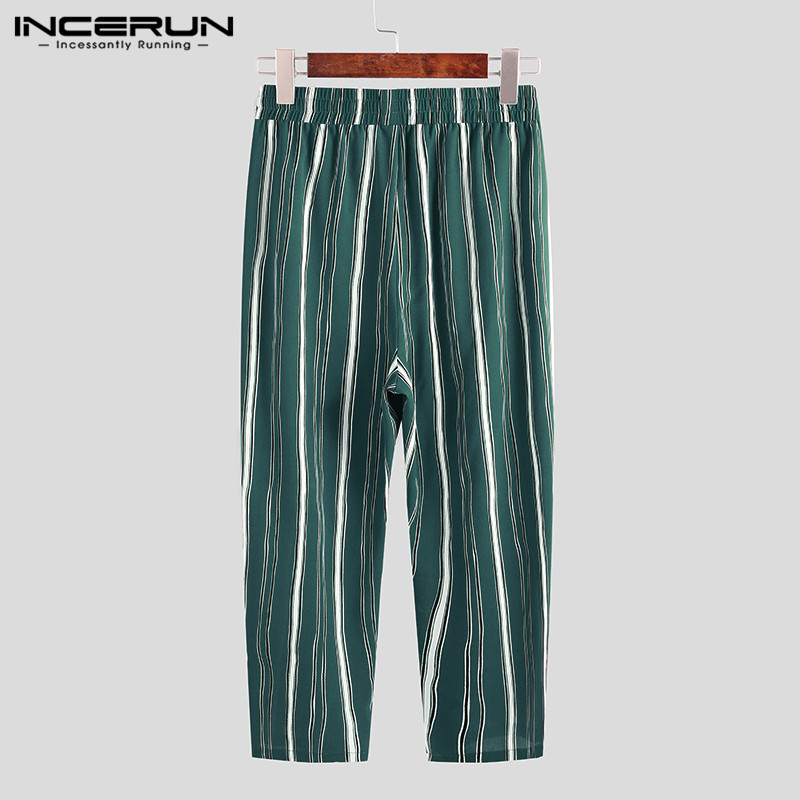 2020 Fashion Men Chic Stripes Lacing Pants Business Style Slim Pockets Trousers Men's Streetwear Brand Pants INCERUN Size S-5XL