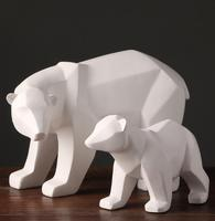 White Abstract Geometric Polar Bears Sculpture Ornaments Modern Home Decorations Gift Crafts Ornamentation Statue