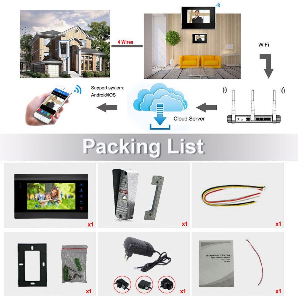 7 Wireless WiFi LCD Video Doorphone HD 720P 1200TVL IR IP65 Outdoor Metal Camera APP Video Record Doorbell Intercom System - 6