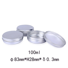 100g Empty 83*28mm Silver Round Aluminum Tin Cans 100ml Cosmetic Cream Jar  Makeup Hair Wax Case Container, 50pcs/lot
