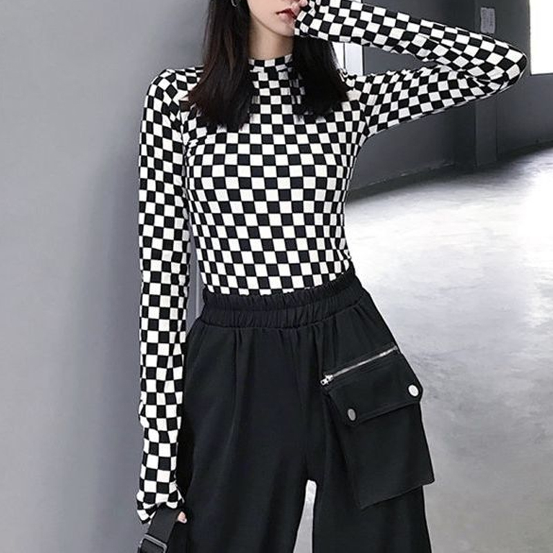 Women Black White Checkered Mesh Tshirt Korean Harajuku Long Sleeve Slim T Shirts Female Plaid Bottoming Shirt Streetwear Tops