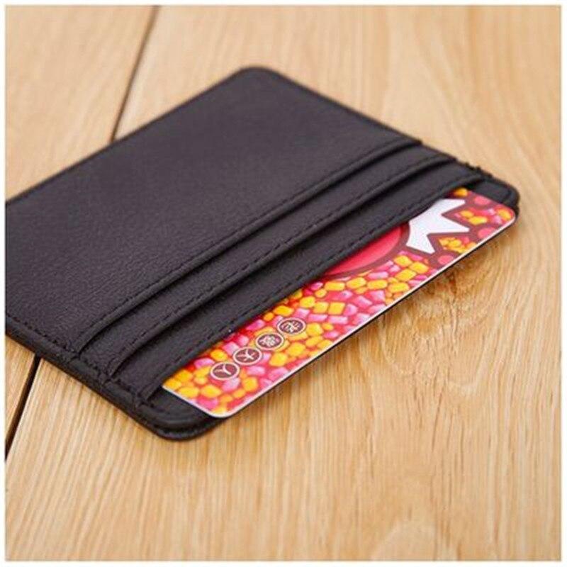 Mini Genuine Leather Credit ID Business Travel Card Holder Pocket Wallet Case