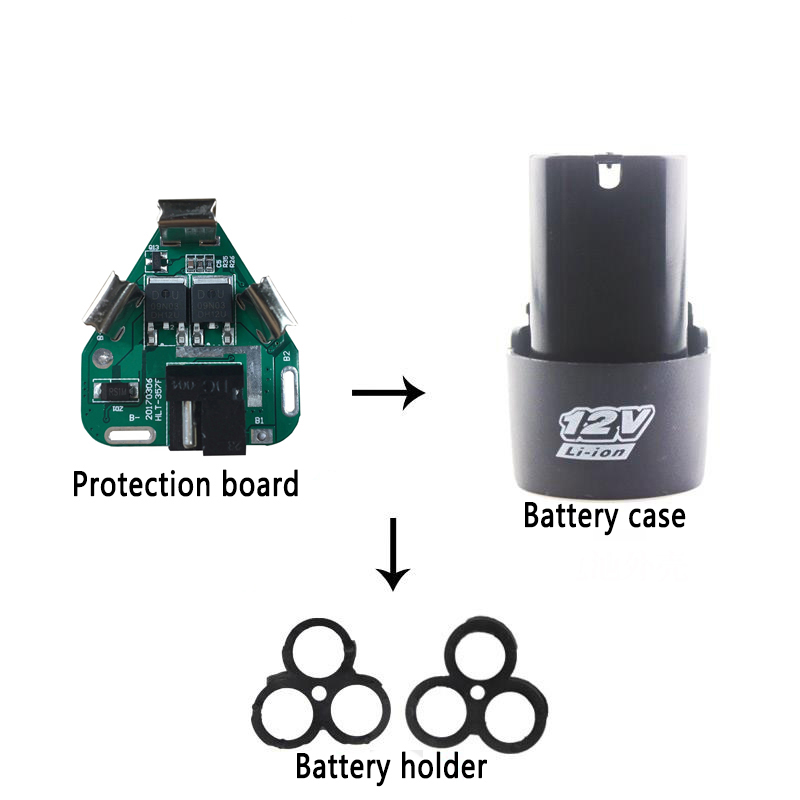Bms 3 s 12 v 10a ferramentas elétricas 18650 li-ion bateria proteção placa bms circuito titular 3 pacotes de células para mão broca de lítio pcb