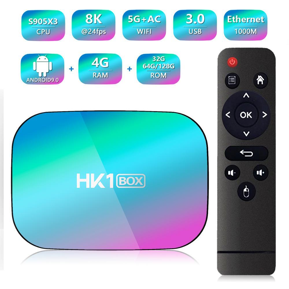 HK1 BOX 8K Smart TV Box Android 9.0 Amlogic S905X3 4GB 128GB 5G Dual WIFI 1000M Ethernet BT4.0 8K HDR H.265 Set Top Box