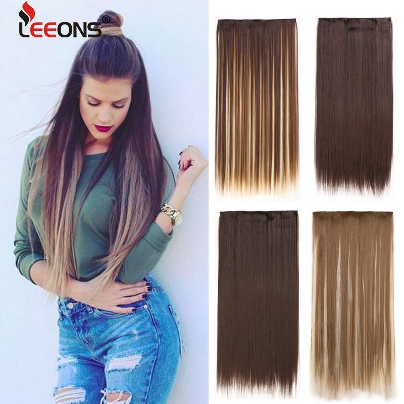 Leeons-extensiones de cabello con Clip, 60Cm, 44 colores, 5 Clips de extensión de cabello, peluquín falso puro, sintético