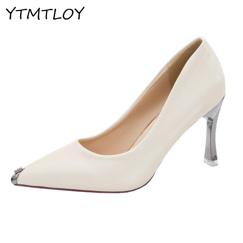 Top Brand Matte Leather High Heel Shoes Black   Shallow Pumps Celebrity Popular Stiletto Heels Shoes Zapatos De Mujer De Moda