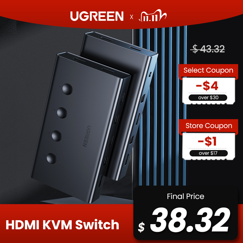 Ugreen HDMI Switch KVM Switch for Xiaomi Mi Box 4 In 1 Out 4 PCs Sharing Printer Keyboard Mouse 4 Ports 4K/60Hz HDMI KVM Switch KVM Switches  - AliExpress