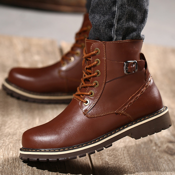 Classic Mens Ankle Boots outdoor Genuine Leather winter Basic Boots Wingtip Toe Lace Up Zip High Top Men's Shoes big size 49