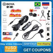 BOYA-Micrófono de solapa Lavalier para grabación de Audio y vídeo, BY-M1, 3,5mm, 6m, enganche, para iPhone, Android, DSLR