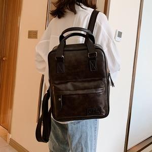 Image 3 - Women Backpack Female Fashion Pu Leather Backpack School Backpacks for Teenagers Girls Vintage Student Book Bags Retro Rucksack