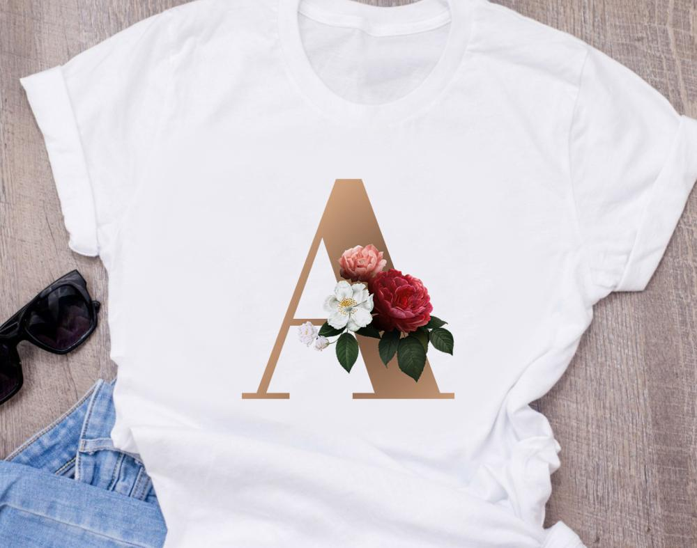 Custom Name Letter Combination Fashion Women's High Quality Printing T-shirt Flower Letter Font A B C D E F G Short Sleeve