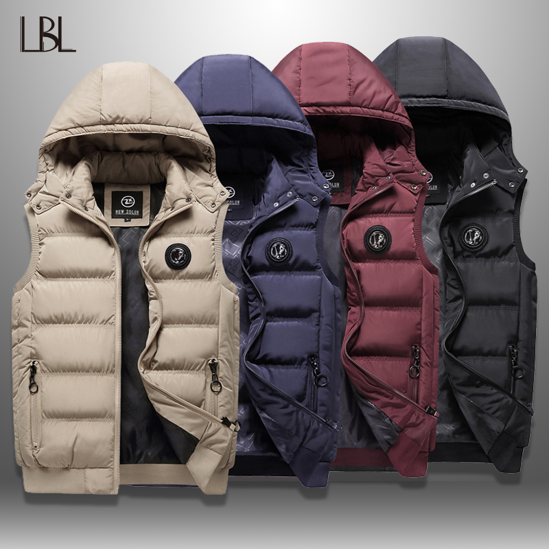 Down Vest Men Autumn Winter Men's Sleeveless Jacket Casual Men's Waistcoat Hooded Vest Hat Detachable New 2019 Outer Vest Homme