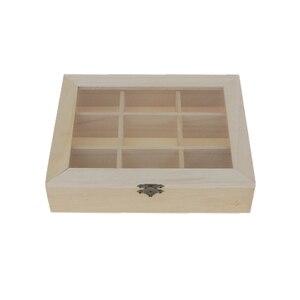 Неокрашенная простая деревянная стеклянная крышка 9 решеток, ящик для хранения ювелирных изделий, художественное ремесло