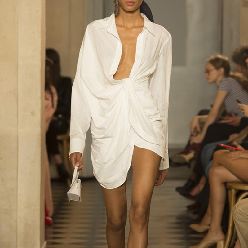 DEAT 2021 New Summer Turn down Collar Full Women Clothes Asymmetrical Sleeves Dobby White Dress Female Vestido WB52300