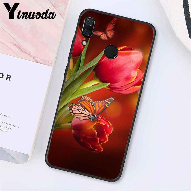 Yinuoda Rode Vlinder Op Witte Rozen Bloem Telefoon Geval Voor Xiaomi Redmi Note 7 8T Redmi 5 Plus 6A note4 4X A2 A2lite