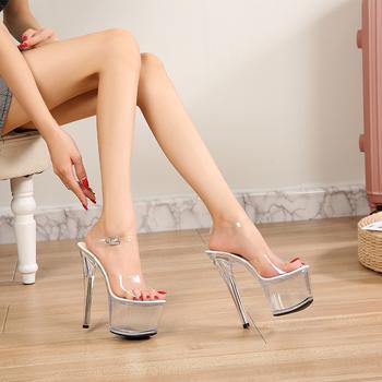 Walking Show striptizerka obcasy jasne buty kobieta platformy wysokie sandały na obcasie kobiety Sexy duże podwórko buty z odkrytymi noskami 2020 nowość tanie i dobre opinie Voesnees CN (pochodzenie) Podstawowe Cienkie obcasy Otwarta RUBBER Super Wysokiej (8cm-up) 5-7 cm Party Pasek klamra Pasuje prawda na wymiar weź swój normalny rozmiar