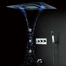 LED Shower Head Waterfall Rainfall Bathroom Faucets Mixer Massage 304 Stainless Steel 600*800mm Set Polished