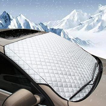 Car Window Screen Frost Large Snow Cover Car Windscreen Cover Anti Snow Frost Ice Shield Dust Protector Heat Sun Shade Magnetic image