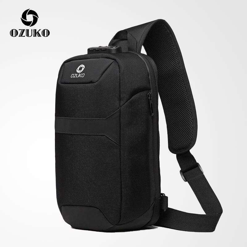 OZUKO New Multifunction Crossbody Bags Men Lock Design Anti-theft Shoulder Messenger Bags Male Short Trip Waterproof Chest Bag
