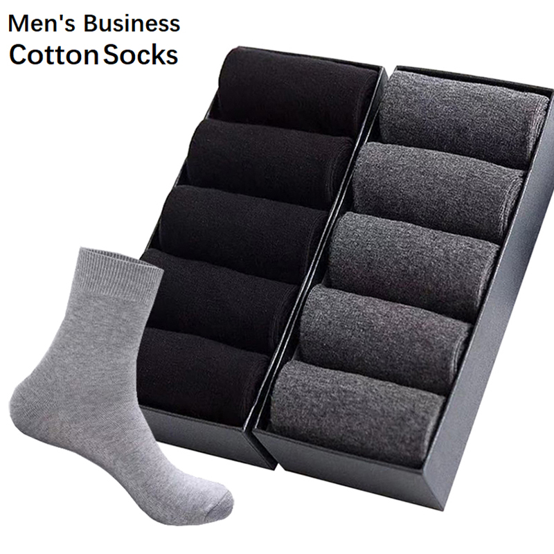 10Pair/Lot Men's Business Cotton Socks High Quality Casual Socks Male Four Season Black White Long Sock Size39-45 Drop Shipping