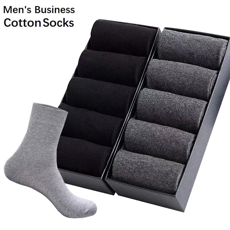 10Pair/Lot Men's Business Cotton Socks High Quality Casual Socks Male Four Season Black White Long Sock Size39-45 Drop Shipping
