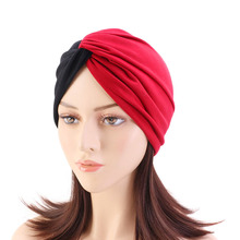 цены Muslim cotton hijab turban cap forehead cross double color turbante hat Islamic headwear India bonnet for women Inner hijab caps