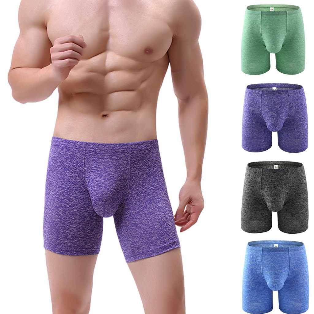 Ondergoed Heren Lange Boxer Onderbroek Effen Kleur Katoen Knickers Shorts Sexy Boxershorts Mannen Ademend Ondergoed Heren Boxer
