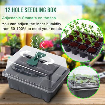 Hot sale 3pcs/set Insert Propagation Nursery Seedling Start Tray Case 12 Hole Plant Seed Grow Box image