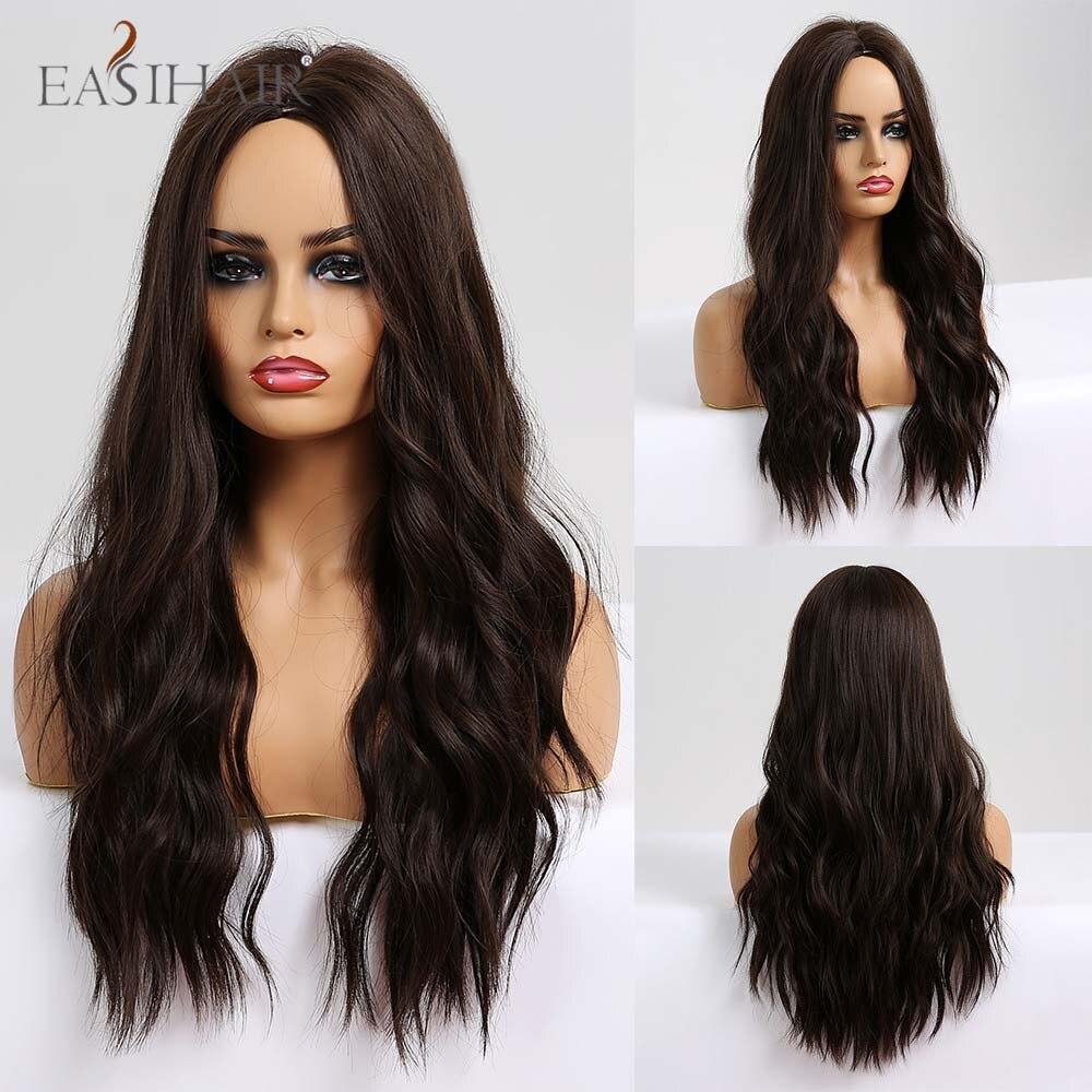 EASIHAIR uzun dalgalı kahverengi sentetik peruk Afro kadınlar için orta kısmı saç moda parti sahte saç ısıya dayanıklı iplik peruk